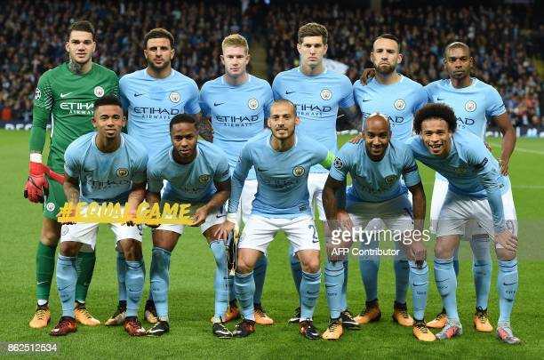 Manchester City's Brazilian goalkeeper Ederson Manchester City's Brazilian striker Gabriel Jesus Manchester City's English defender Kyle Walker...