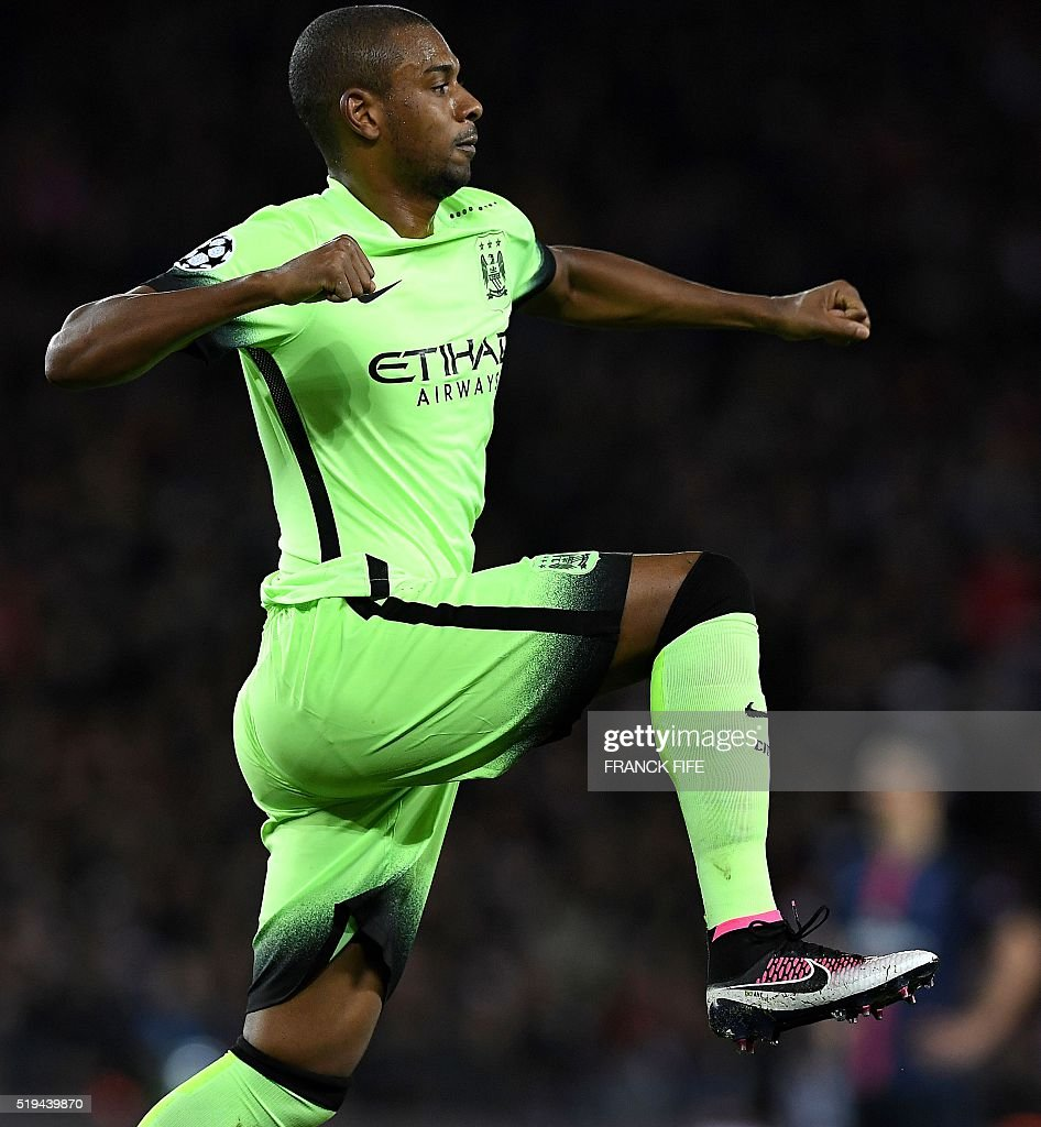 Manchester City's Brazilian midfielder Fernandinho celebrates after scoring a goal during the UEFA Champions League quarter final football match between Paris Saint Germain (PSG) and Manchester City on April 6, 2016 at the Parc des Princes stadium in Paris.