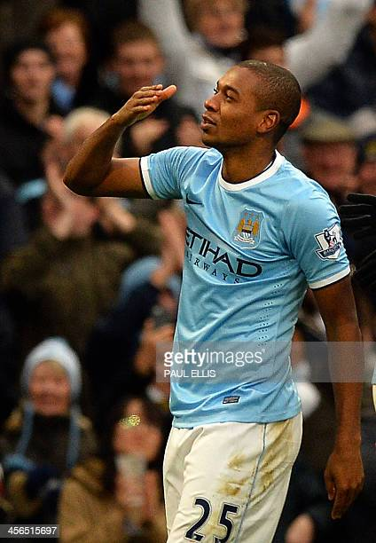 Manchester City's Brazilian midfielder Fernandinho celebrates scoring his team's third goal during the English Premier League football match between...
