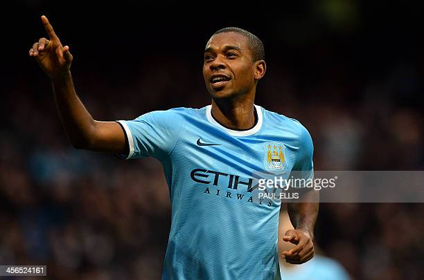 Manchester City's Brazilian midfielder Fernandinho celebrates scoring his second goal during the English Premier League football match between...