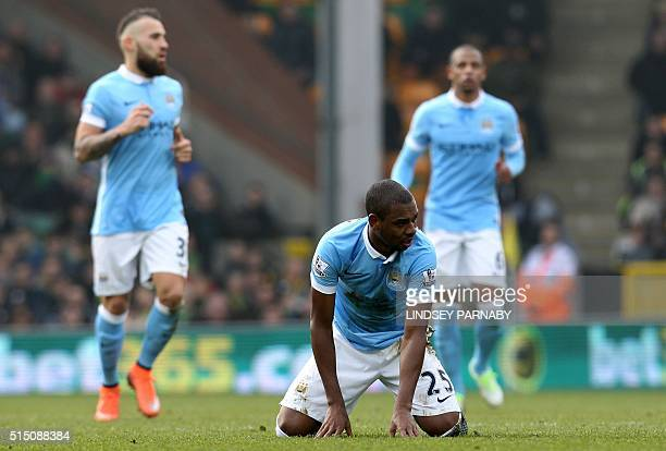 Manchester City's Brazilian midfielder Fernandinho reacts after missing a shot on goal during the English Premier League football match between...