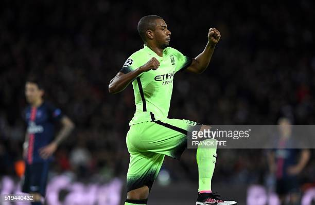 Manchester City's Brazilian midfielder Fernandinho reacts after scoring a goal during the UEFA Champions League quarter final football match between...