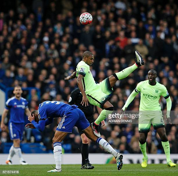 Manchester City's Brazilian midfielder Fernandinho vies with Chelsea's English midfielder Ruben LoftusCheek during the English Premier League...