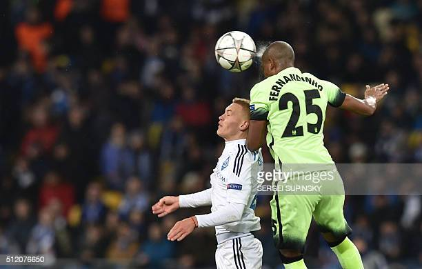 Manchester City's Brazilian midfielder Fernandinho vies with Dynamo Kiev's Ukrainian midfielder Vitaliy Buyalskiy during the UEFA Champions league...