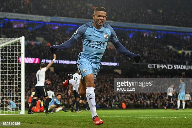 Manchester City's Brazilian striker Gabriel Jesus celebrates scoring his debut goal before realising he has been flagged for offside during the...