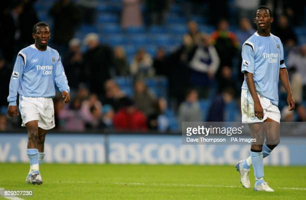 Manchester City's brothers Shaun and Bradley WrightPhillips during their Carling Cup second round match at the City of Manchester Stadium Manchester...