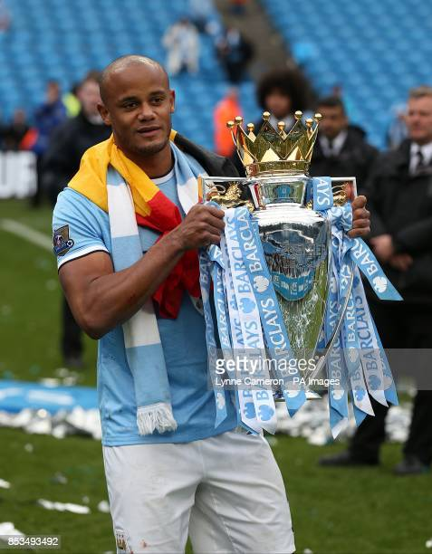 Manchester City's captain Vincent Kompany with the trophy
