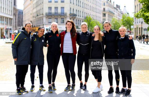 Manchester City's Carli Lloyd Demi Stokes Ellie Roebuck Jennifer Beatie Steph Houghton Kosovare Asllani Jill Scott and Georgia Stanway in Lyon