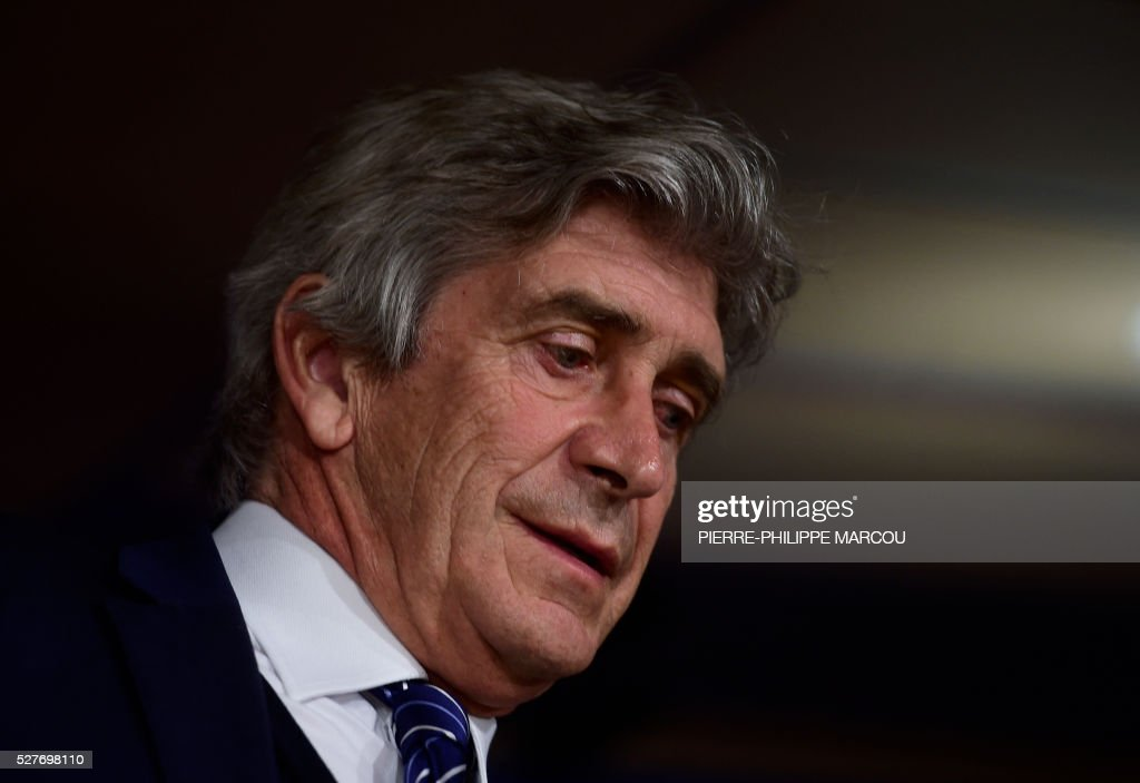 Manchester City's Chilean head coach Manuel Pellegrini looks on during a press conference at the Santiago Bernabeu stadium in Madrid on May 3, 2016 on the eve of their Champions League semi-final second leg football match against Real Madrid. / AFP / PIERRE