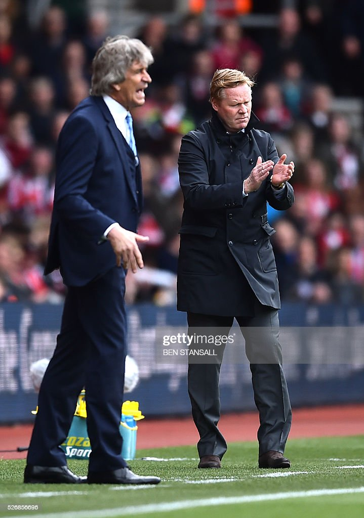 Manchester City's Chilean manager Manuel Pellegrini (L) and Southampton's Dutch manager Ronald Koeman gesture during the English Premier League football match between Southampton and Manchester City at St Mary's Stadium in Southampton, southern England on May 1, 2016. / AFP / BEN STANSALL / RESTRICTED TO EDITORIAL USE. No use with unauthorized audio, video, data, fixture lists, club/league logos or 'live' services. Online in-match use limited to 75 images, no video emulation. No use in betting, games or single club/league/player publications. /
