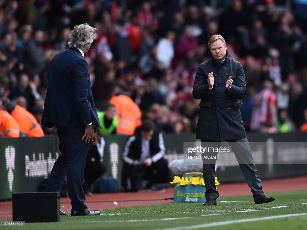 Manchester City's Chilean manager Manuel Pellegrini (L) and Southampton's Dutch manager Ronald Koeman react after the English Premier League football match between Southampton and Manchester City at St Mary's Stadium in Southampton, southern England on May 1, 2016. / AFP / BEN STANSALL / RESTRICTED TO EDITORIAL USE. No use with unauthorized audio, video, data, fixture lists, club/league logos or 'live' services. Online in-match use limited to 75 images, no video emulation. No use in betting, games or single club/league/player publications. /