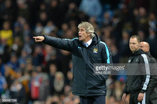 Manchester City's Chilean manager Manuel Pellegrini gestures from the touchline during the UEFA Champions League Group D football match between...