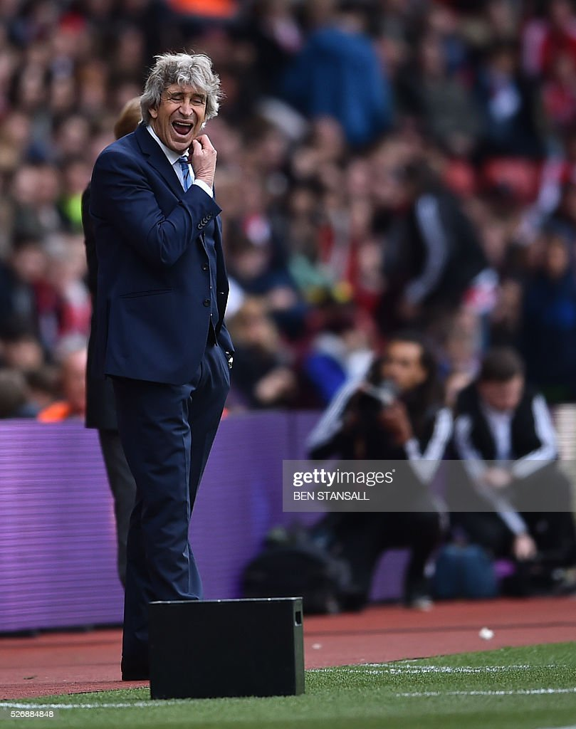 Manchester City's Chilean manager Manuel Pellegrini reacts during the English Premier League football match between Southampton and Manchester City at St Mary's Stadium in Southampton, southern England on May 1, 2016. / AFP / BEN STANSALL / RESTRICTED TO EDITORIAL USE. No use with unauthorized audio, video, data, fixture lists, club/league logos or 'live' services. Online in-match use limited to 75 images, no video emulation. No use in betting, games or single club/league/player publications. /