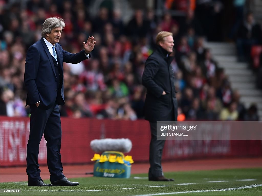 Manchester City's Chilean manager Manuel Pellegrini (L) waves to fans during the English Premier League football match between Southampton and Manchester City at St Mary's Stadium in Southampton, southern England on May 1, 2016. / AFP / BEN STANSALL / RESTRICTED TO EDITORIAL USE. No use with unauthorized audio, video, data, fixture lists, club/league logos or 'live' services. Online in-match use limited to 75 images, no video emulation. No use in betting, games or single club/league/player publications. /