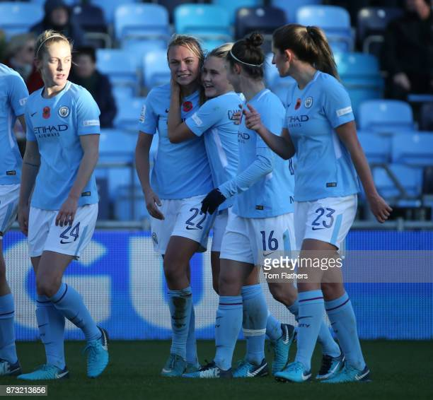 Manchester City's Claire Emslie celebrates action during the FA WSL match between Manchester City Women and Bristol City Women at The Academy Stadium...