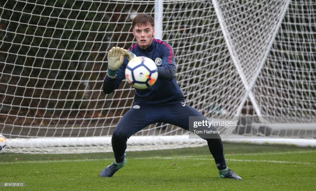 Manchester City's Curtis Anderson during training at Manchester City Football Academy on November 14, 2017 in Manchester, England.