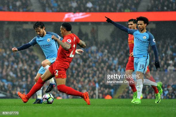 Manchester City's David Silva and Liverpool's Nathaniel Clyne in action during the Barclay's Premiership match at the Etihad Stadium Manchester on...
