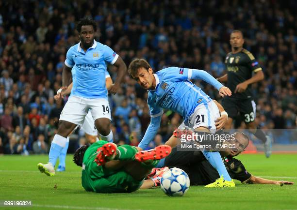 Manchester City's David Silva had an attempt on goal cleared by Juventus' Giorgio Chiellini