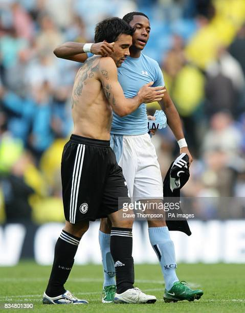 Manchester City's De Souza Robinho swaps shirts with Chelsea's Deco after the first half