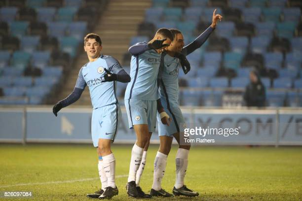Manchester City's Demeaco Duhaney celebrates scoring against Southampton with Lukas Nmecha and Brahim Diaz