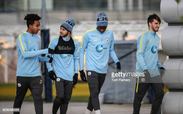 Manchester City's Demeaco Duhaney Paolo Hernandez and Rodney Kongolo