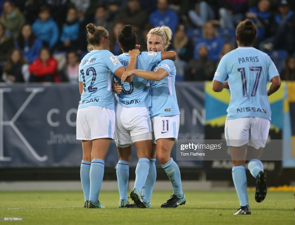 Manchester City's Demi Stokes celebrates scoring against St. Polten on October 4, 2017 in St. Poelten, Lower Austria.
