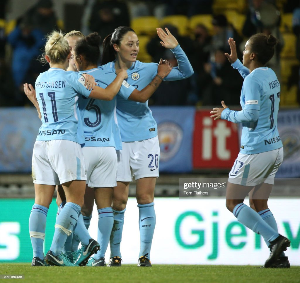 Manchester City's Demi Stokes celebrates scoring with her teammates during the UEFA Women's Champions League match between LSK Kvinner and Manchester City Ladies at Arasen Stadion on November 9, 2017 in Lillestrom, Norway.