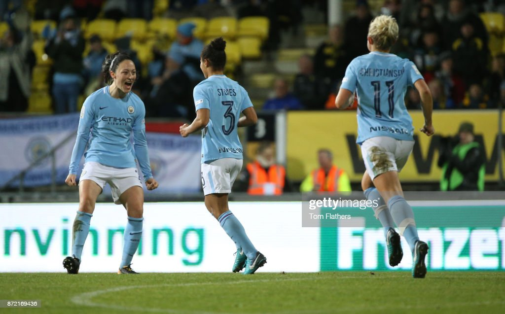 Manchester City's Demi Stokes celebrates scoring with Megan Campbell during the UEFA Women's Champions League match between LSK Kvinner and Manchester City Ladies at Arasen Stadion on November 9, 2017 in Lillestrom, Norway.