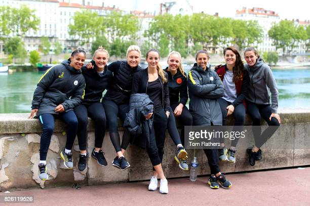 Manchester City's Demi Stokes Georgia Stanway Steph Houghton Kosovare Asllani Ellie Roebuck Carli Lloyd Jennifer Beatie and Jill Scott in Lyon