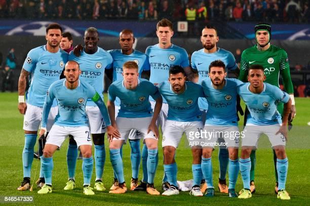 Manchester City's English defender Kyle Walker French defender Benjamin Mendy Brazilian midfielder Fernandinho English defender John Stones...