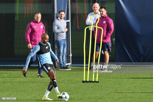 Manchester City's English midfielder Fabian Delph takes part in a team training session at the City Football Academy in Manchester north west England...