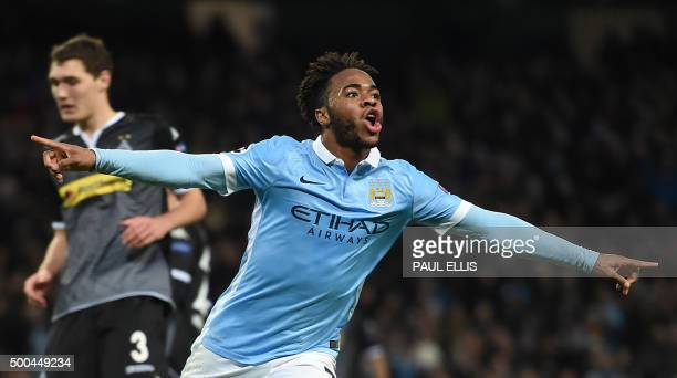 Manchester City's English midfielder Raheem Sterling celebrates scoring his second and City's third goal to take the lead 32 during the UEFA...