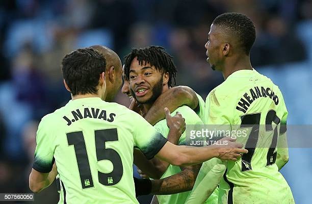 Manchester City's English midfielder Raheem Sterling celebrates scoring his team's fourth goal during the English FA Cup fourth round football match...