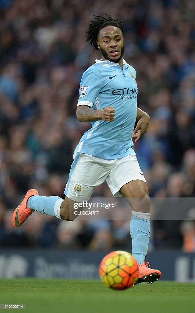 Manchester City's English midfielder Raheem Sterling controls the ball during the English Premier League football match between Manchester City and Tottenham Hotspur at the Etihad Stadium in Manchester, north west England, on February 14, 2016. / AFP / OLI SCARFF / RESTRICTED TO EDITORIAL USE. No use with unauthorized audio, video, data, fixture lists, club/league logos or 'live' services. Online in-match use limited to 75 images, no video emulation. No use in betting, games or single club/league/player publications. /
