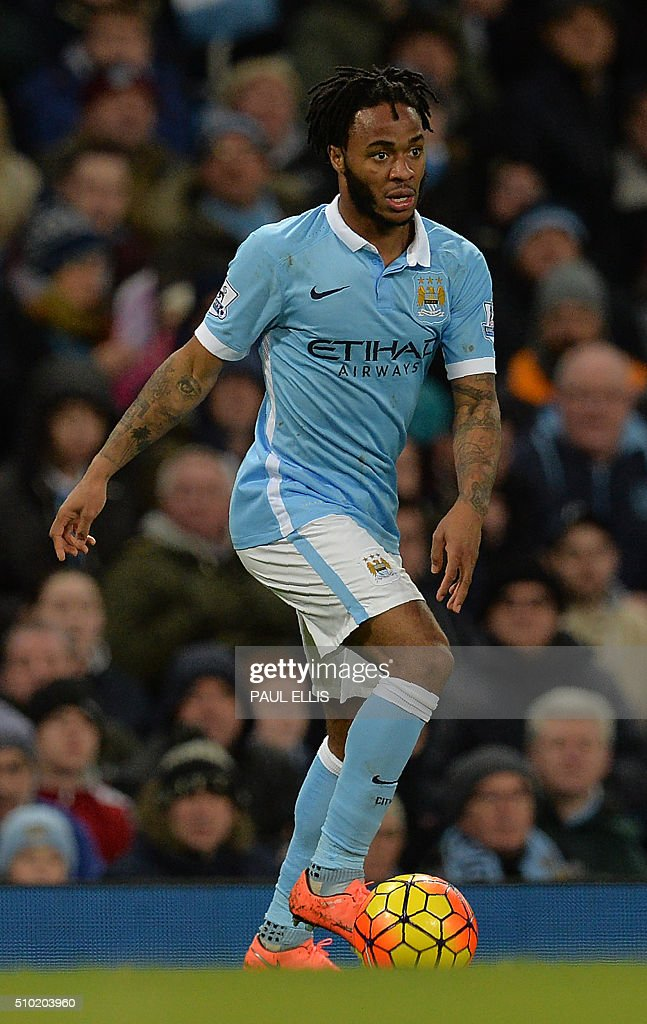Manchester City's English midfielder Raheem Sterling controls the ball during the English Premier League football match between Manchester City and Tottenham Hotspur at the Etihad Stadium in Manchester, north west England, on February 14, 2016. / AFP / PAUL ELLIS / RESTRICTED TO EDITORIAL USE. No use with unauthorized audio, video, data, fixture lists, club/league logos or 'live' services. Online in-match use limited to 75 images, no video emulation. No use in betting, games or single club/league/player publications. /