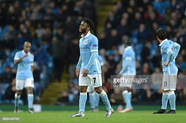 Manchester City's English midfielder Raheem Sterling reacts after Moenchengladbach's second goal during the UEFA Champions League Group D football...
