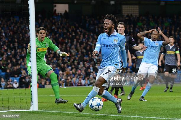Manchester City's English midfielder Raheem Sterling reacts as the ball goes into touch for a corner during the UEFA Champions League Group D...