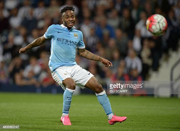 Manchester City's English midfielder Raheem Sterling shoots during the English Premier League football match between West Bromwich Albion and...