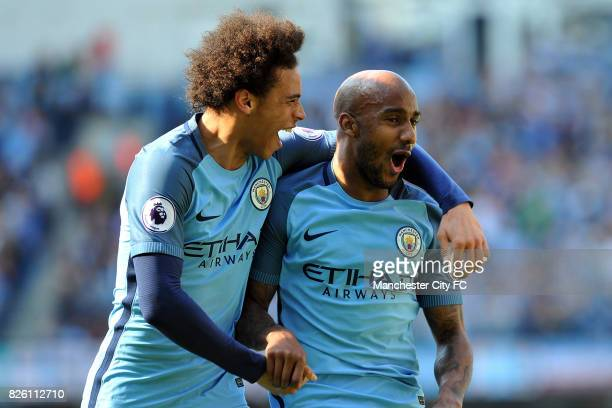Manchester City's Fabian Delph celebrates scoring his sides third goal with Leroy Sanel during the Barclay's Premiership match at the Etihad Stadium...