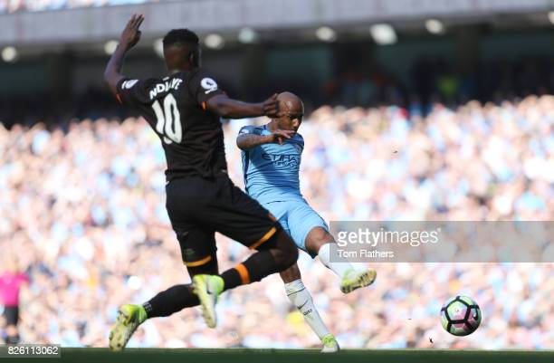 Manchester CIty's Fabian Delph scores against Hull City