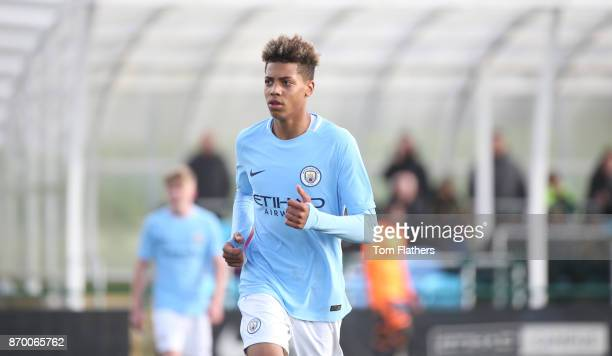 Manchester City's Felix Nmecha in action in the U18 Premier League Cup against Reading at Manchester City Football Academy on November 4 2017 in...