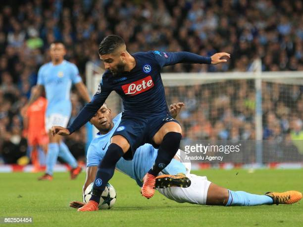 Manchester City's Fernandinho in action against Napoli's Lorenzo Insigne during the Champions League group F soccer match between Manchester City FC...
