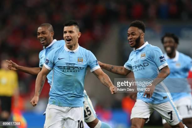 Manchester City's Fernandinho Sergio Aguero and Raheem Sterling celebrate victory