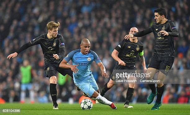 Manchester City's Fernando is fouled by Celtic's Stuart Armstrong during the UEFA Champions League match between Manchester City FC and Celtic FC at...