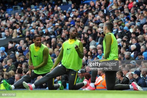 Manchester City's Fernando Kelechi Iheanacho and Aleksandar Kolarov