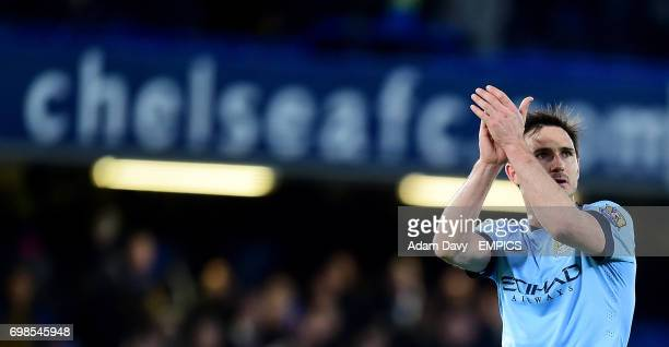 Manchester City's Frank Lampard applauds the Chelsea fans after the game
