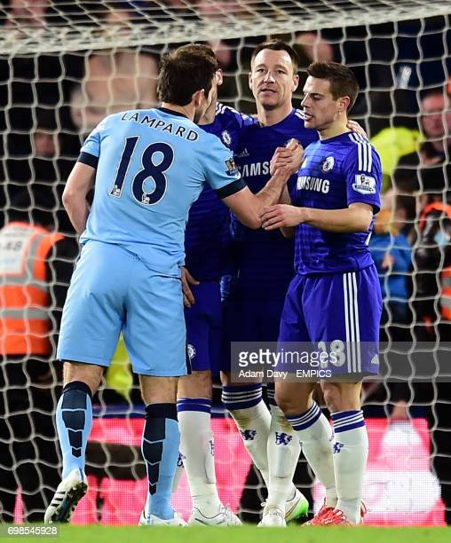 Manchester City's Frank Lampard shakes hands with former teammates Chelsea's Cesar Azpilicueta John Terry and Branislav Ivanovic
