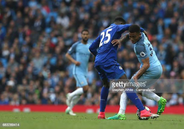 Manchester City's Gabriel Jesus and Leicester City's Wilfred Ndidi during the Premier League match between Manchester City and Leicester City at...