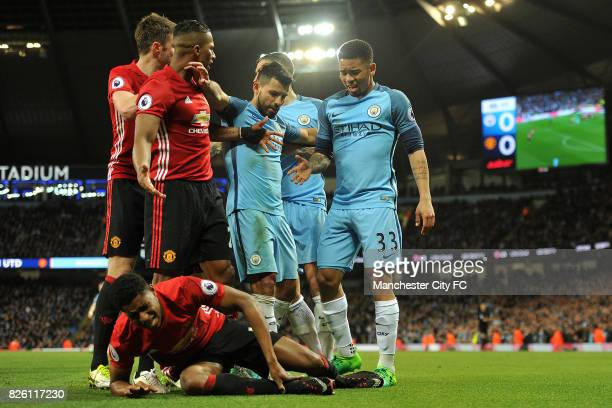 Manchester City's Gabriel Jesus and Manchester United's Marcus Rashford in action during the Barclay's Premiership match at the Etihad Stadium...