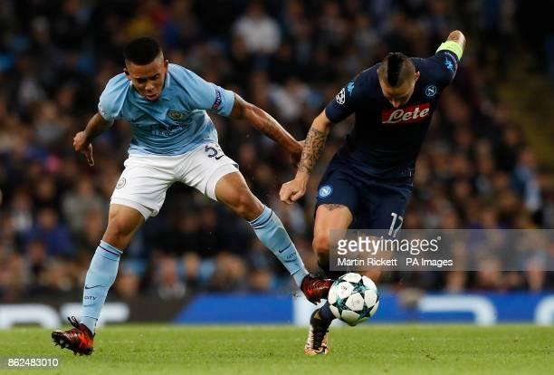Manchester City's Gabriel Jesus and Napoli's Marek Hamsik battle for the ball during the UEFA Champions League group F match at The Etihad Stadium...